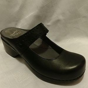 Dansko black leather Mary Jane clog 37